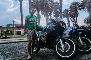 Dirk Hoffmann and his Triumph Tiger in Antigua