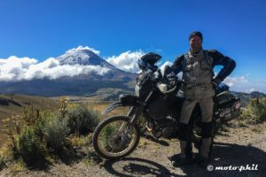 moto.phil with DR650 and Popocatepetl in the background
