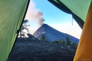View from tent on Volcan de Fuego