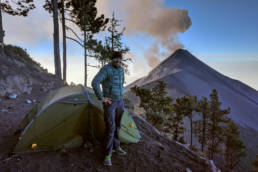Camping on Acatenango with view on active Fuego