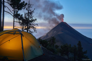 Camping at sunrise on Acatenango with view on active Volcan de Fuego 2017-02-24/25