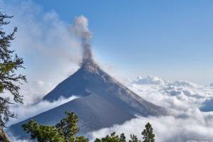 Acatenango erupting at daylight