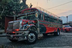 Pimped US school bus in Antigua Guatemala