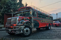 Pimped US school bus in Antigua Guatemala
