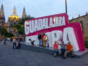 Martin, moto.phil and Michnus in front of the big Guadalajara letters
