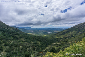 """View from the mountains into the vally of the """"Sierra de Lobos"""""""