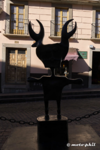 Metal art statue in the shadow