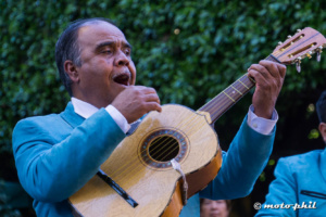 Mariachi with guitar and blue jacket singing