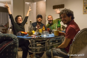 moto.phil with his host Marcelo and other BnB guests having a few drinks in the BnB