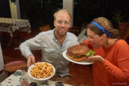 Bob and Engeline eating the biggest burger