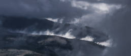 Clouds and lights on ridges