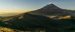 Volcano Popocatepetl smoking at sunrise