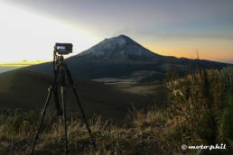 Camera on tripod at volcano Popocatepetl