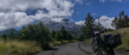 Dirtroad, Motorcycle and Volcano Popocatepetl