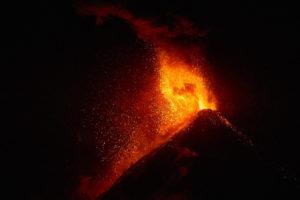 Volcano Fuego Guatemala erupting on February 24, 2017