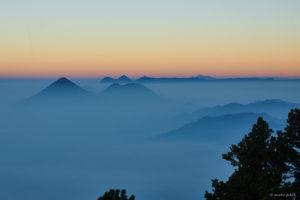 Sunset view over Lago di Atitlan from Volcan Acatenango