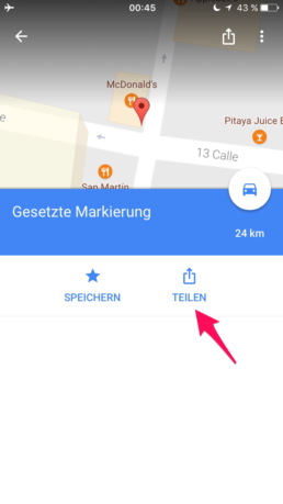Get coordinates from google maps app on iOS