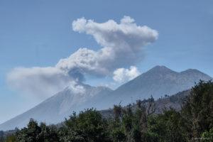 Volcan de Fuego smoking and Volcan Acatenango