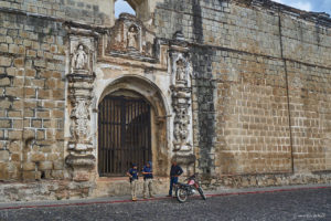 Police checking a locals licence in front of Convento Santa Clara