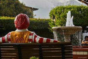 Ronald McDonald in the McDonald's patio in Antigua Guatemala